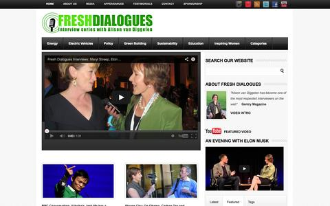 Screenshot of Home Page freshdialogues.com - Fresh Dialogues | Lively interviews with visionaries, business leaders and cultural icons - captured Sept. 30, 2014