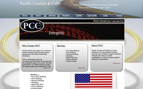 Screenshot of Home Page pacificconduitandcable.com - Pacific Conduit and Cable - Custom Braided Wire and Cabling - captured Sept. 27, 2014