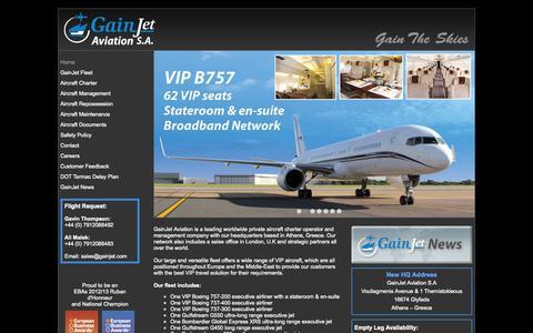Screenshot of Home Page gainjet.com - Gainjet Aviation: Executive aircraft charter operator - captured Sept. 30, 2014