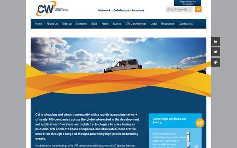 Screenshot of Home Page cambridgewireless.co.uk - Wireless Technology | Mobile | Network - captured July 11, 2014