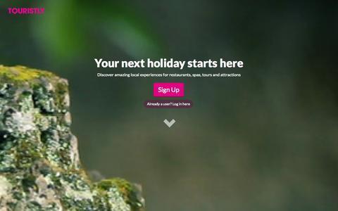 Screenshot of Home Page touristly.com - Touristly - captured Sept. 25, 2014