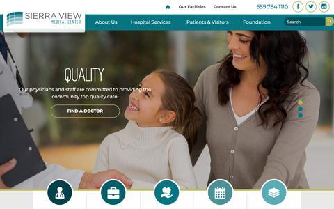 Screenshot of Home Page sierra-view.com - Sierra View Medical Center | Porterville Hospital - captured Oct. 28, 2018