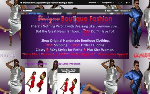Screenshot of Home Page shopdiamondfireapparel.com - Shop Diamondfire Apparel | Ladies Unique Fashion Clothing - captured Sept. 19, 2014