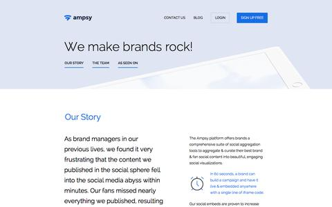 Screenshot of About Page ampsy.com - Ampsy - Amplify Your Brand with Ampsy's Social Embed Tools! - captured April 9, 2016