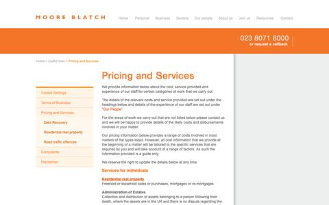Screenshot of Pricing Page mooreblatch.com - Moore Blatch - Pricing and Services - captured Dec. 20, 2018