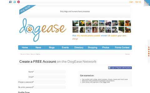 Screenshot of Signup Page dogease.ca - Sign up   DogEase - captured Oct. 5, 2014