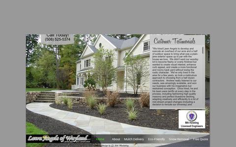 Screenshot of Home Page lawnangels.com - Lawn Angels of Wayland Landscape and Construction - captured Feb. 5, 2015