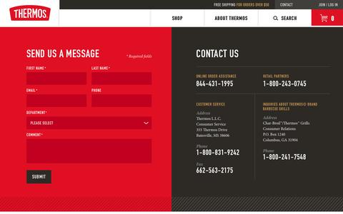 Screenshot of Contact Page Support Page thermos.com - Contact Us - captured Nov. 2, 2018