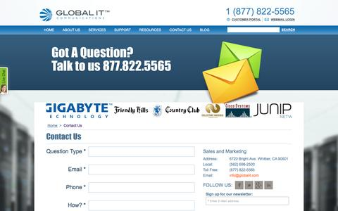 Screenshot of Contact Page globalit.com - Global IT- Contact us - captured July 10, 2016