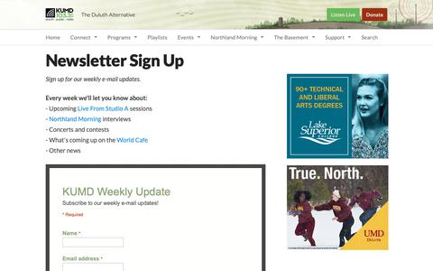 Screenshot of Signup Page kumd.org - Newsletter Sign Up | KUMD - captured Dec. 20, 2018