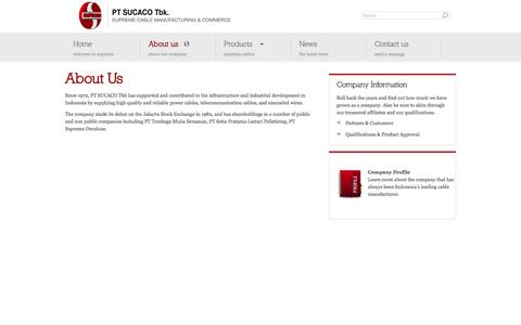 Screenshot of About Page sucaco.com - PT SUCACO Tbk | Supreme Cable Manufacturing & Commerce - captured Oct. 1, 2014