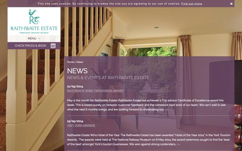 Screenshot of Press Page raithwaiteestate.com - News | Events | Raithwaite Estate - captured Sept. 23, 2014