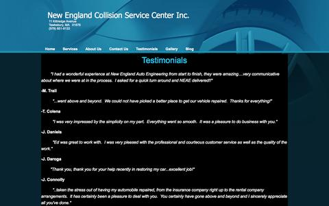 Screenshot of Testimonials Page neaeinc.com - New England Auto Engineering Inc - Testimonials - captured Oct. 26, 2014