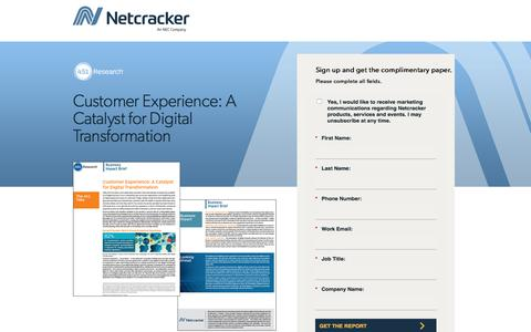 Screenshot of Landing Page netcracker.com - Customer Experience: A Catalyst for Digital Transformation - captured Oct. 5, 2019