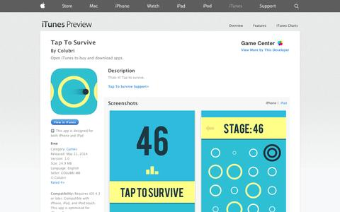 Screenshot of iOS App Page apple.com - Tap To Survive on the App Store on iTunes - captured Oct. 22, 2014