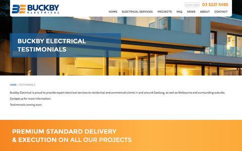 Screenshot of Testimonials Page buckbyelectrical.com.au - Buckby Electrical: Testimonials | Geelong Electricians - captured Sept. 25, 2015