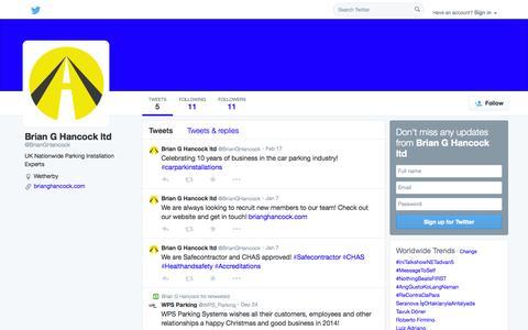 Screenshot of Twitter Page twitter.com - Brian G Hancock ltd (@BrianGHancock) | Twitter - captured Oct. 23, 2014