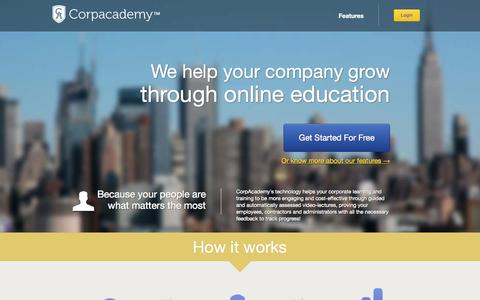 Screenshot of Home Page corpacademy.com - Corpacademy - captured Sept. 30, 2014