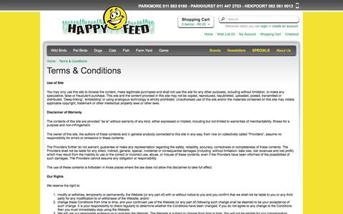 Screenshot of Terms Page happyfeed.co.za - Terms & Conditions - captured July 16, 2018