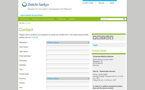 Screenshot of Contact Page daiichi-sankyo.eu - Contact: Daiichi Sankyo Europe GmbH - captured Feb. 9, 2016