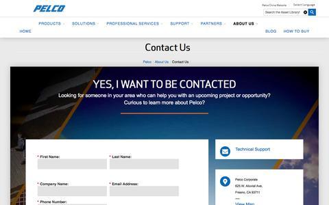 Screenshot of Contact Page pelco.com - Contact Us   Pelco - captured July 21, 2019
