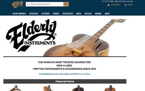 Screenshot of Home Page elderly.com - Elderly Instruments - captured Oct. 13, 2017