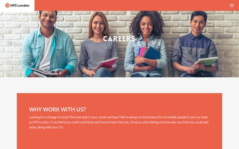 Screenshot of Jobs Page hfslondon.com - Homestay Career Opportunities - HFS London - captured July 8, 2017