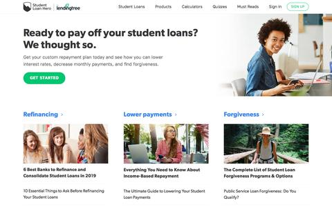 Screenshot of Home Page studentloanhero.com - Calculators and Tools to Pay Off Student Loans | Student Loan Hero - captured July 22, 2019
