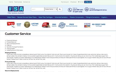 Screenshot of Support Page Terms Page filtersystemsaustralia.com - Customer Service - captured May 9, 2016