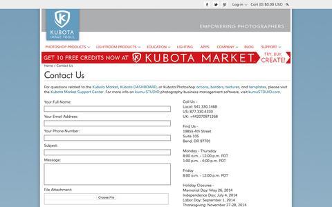 Screenshot of Contact Page kubotaimagetools.com - Contact Us | Kubota Image Tools - captured Nov. 23, 2015