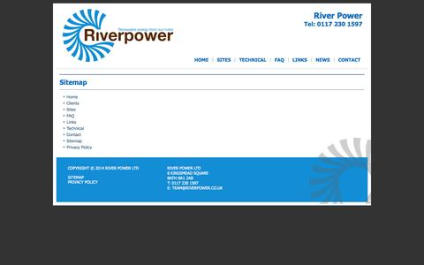 Screenshot of Site Map Page riverpower.co.uk - Sitemap   River Power - captured Oct. 26, 2014