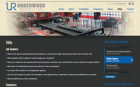 Screenshot of FAQ Page underwoodrecruiting.com - Frequently Asked Questions | Underwood Recruiting - captured Oct. 7, 2014