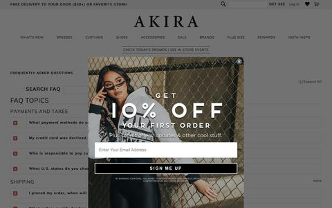 Screenshot of FAQ Page shopakira.com - Frequently Asked Questions - - captured Nov. 10, 2019