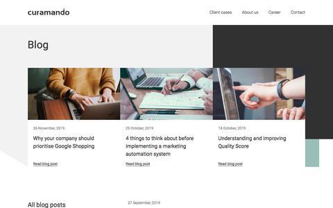 Screenshot of Blog Press Page curamando.com - Blog - Curamando - Business Remastered - captured Dec. 3, 2019
