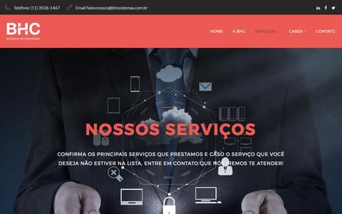 Screenshot of Services Page bhcsistemas.com.br - Services – BHC Sistemas de Segurança - captured July 7, 2017