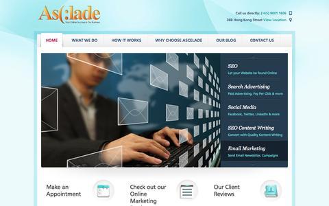Screenshot of Home Page ascelade.com - Internet Marketing Singapore | Ascelade - captured Oct. 4, 2014