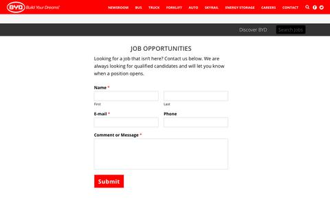 Screenshot of Jobs Page byd.com - Job Opportunities - BYD USA - captured April 25, 2018