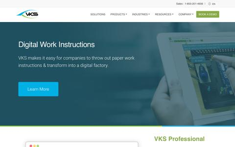 Screenshot of Home Page vksapp.com - VKS - Create and Share Digital Work Instructions - captured Sept. 18, 2019