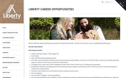 Screenshot of Jobs Page libertyclothing.com - LIBERTY CAREER OPPORTUNITIES – Liberty Clothing Company Store - captured July 19, 2018