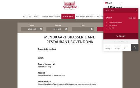 Screenshot of Menu Page bovendonk.nl - Menu Brasserie and Restaurant Bovendonk | Klooster Bovendonk - captured Sept. 29, 2018