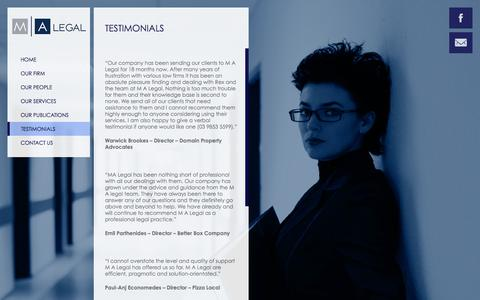 Screenshot of Testimonials Page malegal.com.au - M A Legal |   Testimonials - captured Sept. 30, 2014
