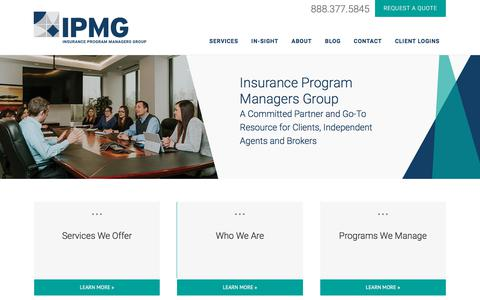 Screenshot of Home Page ipmg.com - Insurance Program Managers Group (IPMG) - captured Aug. 12, 2018