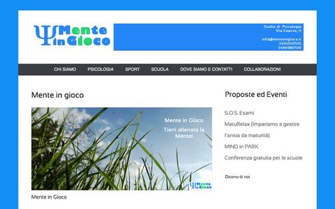 Screenshot of Home Page Menu Page menteingioco.it - Mente in Gioco - captured Sept. 30, 2014