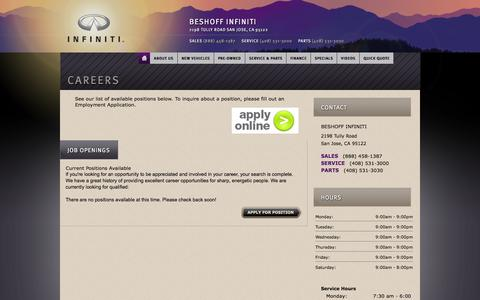 Screenshot of Jobs Page beshoffinfiniti.com - Beshoff Infiniti | New Infiniti dealership in San Jose, CA 95122 - captured Oct. 5, 2014