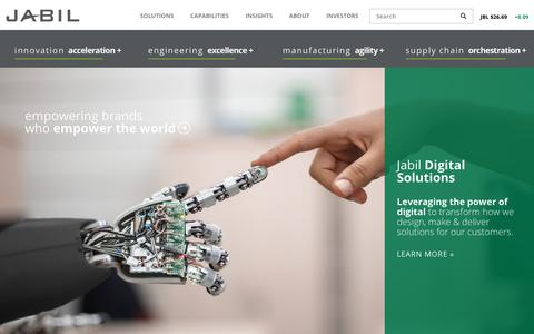 Screenshot of Home Page jabil.com - Empowering Brands Who Empower The World   Jabil - captured May 2, 2018
