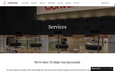 Screenshot of Services Page convene.com - Services - Convene - Meeting Rooms, Event Spaces, & Conference Centers - captured March 10, 2017