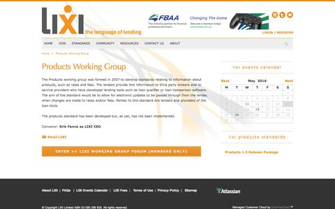 Screenshot of Products Page lixi.org.au - Products Working Group - LIXI - captured May 14, 2016
