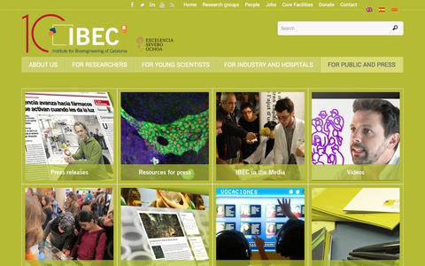 Screenshot of Press Page ibecbarcelona.eu - For public and press – Institute for Bioengineering of Catalonia (IBEC) - captured Oct. 15, 2017