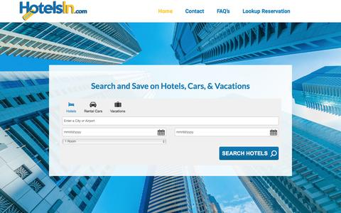 Screenshot of Home Page hotelsin.com - HotelsIn.com | Get the Best Deals on Hotels, Flights and Rental Cars - captured Nov. 14, 2016
