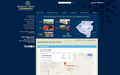 Screenshot of Maps & Directions Page northway.org - Non-Denominational Churches in Pittsburgh PA | North Way Community Church Pittsburgh PA Several Locations - captured Oct. 7, 2014